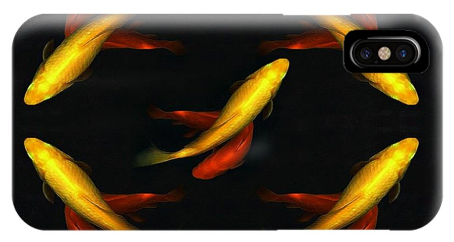 IPhone X Case featuring the digital art Pisces Times Five by Dale  Ford