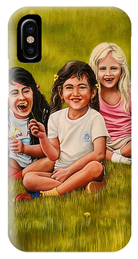 Children IPhone X Case featuring the painting Playtime In The Field by Carmen Del Valle