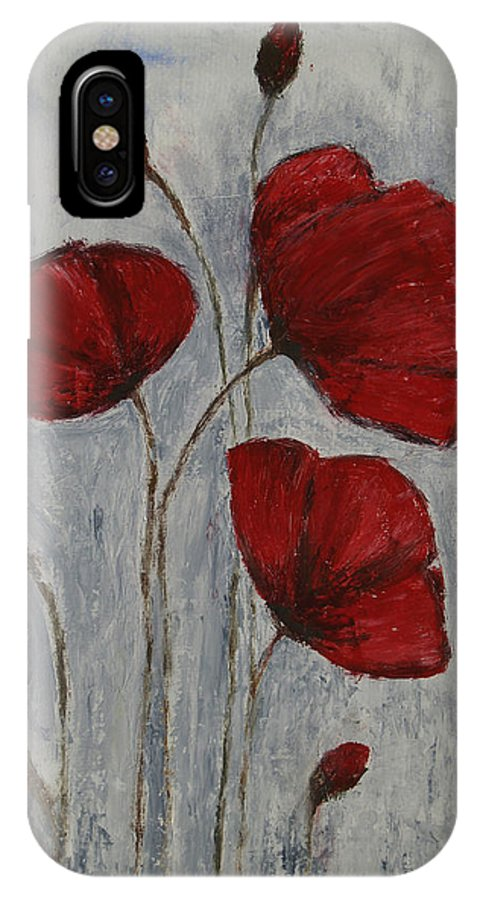 Poppy IPhone X Case featuring the painting Poppies by JG Keevil