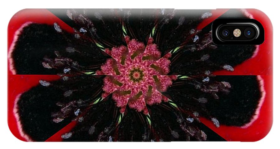 Digital IPhone X Case featuring the digital art Poppy by Rhonda Barrett
