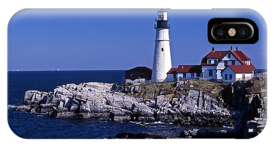 Me IPhone X Case featuring the photograph Portland Head Inshore by Skip Willits