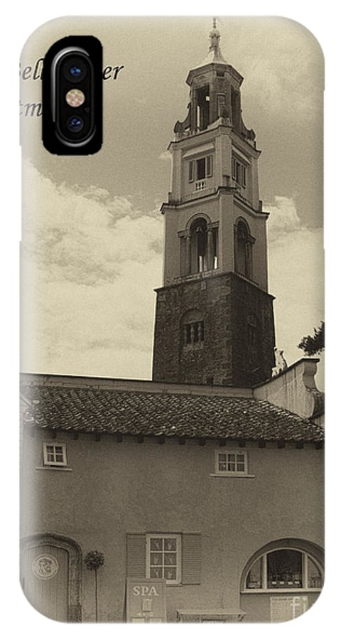 Portmeirion IPhone X Case featuring the photograph Portmeirion Bell Tower by Steev Stamford