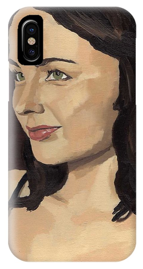 Paintings IPhone X Case featuring the painting Portrait Of Solomia by Stephen Panoushek