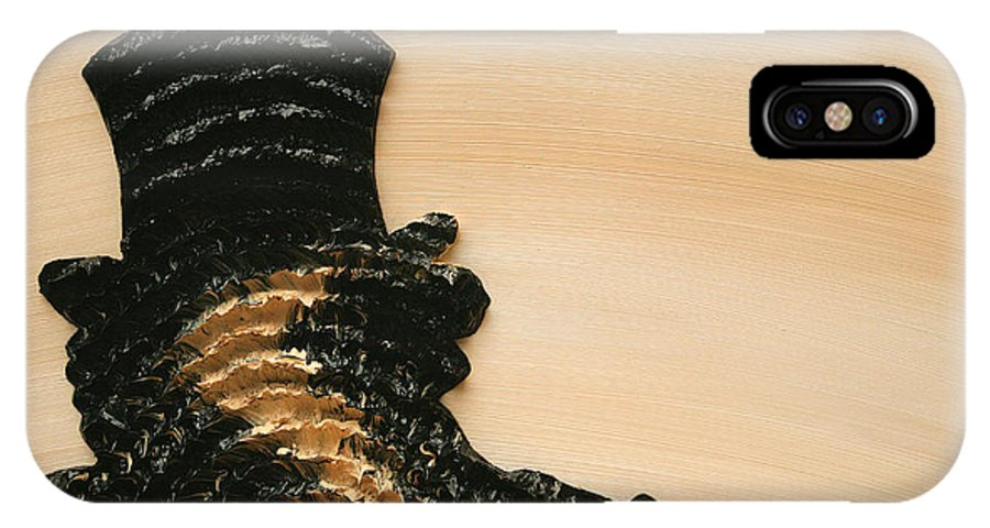 Beige IPhone X Case featuring the painting Portrait Variation In Beige - Stu With Hat by Antonio Wehrli