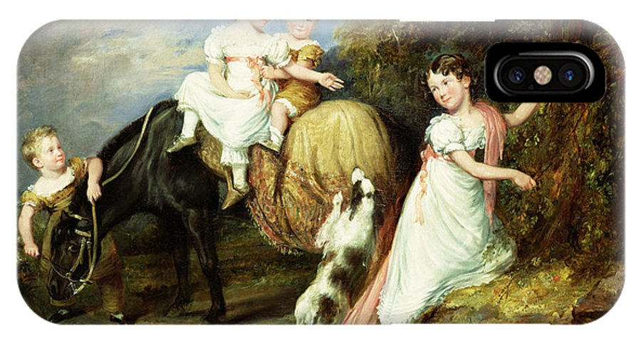 Child; Horse; Group; Grandchildren; Richard Arkwright; Regency; Landscape; Dog; Play; Gentry; Eleanor; Anne Mary; Robert; Charles; Reverand IPhone X Case featuring the painting Portraits Of The Children Of The Rev. Joseph Arkwright Of Mark Hall Essex by John Hayter