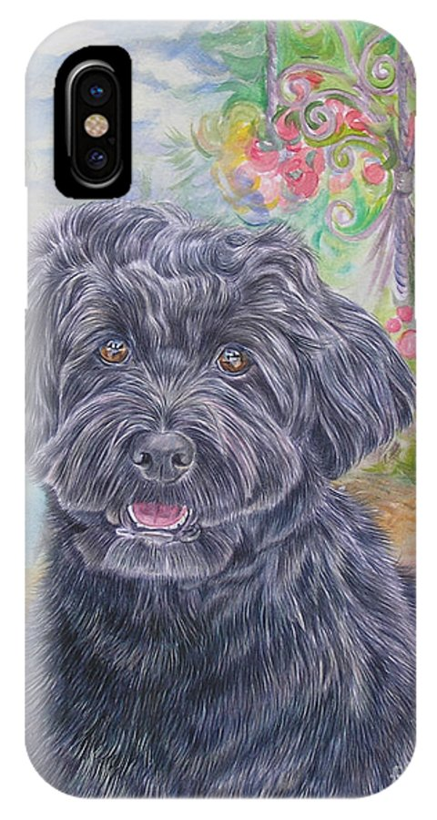 Portuguese IPhone X Case featuring the painting Portuguese Water Dog by Gail Dolphin