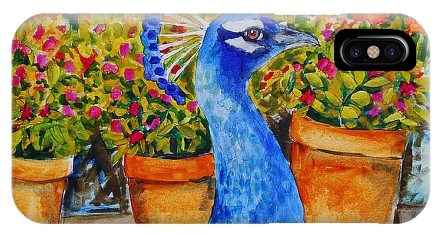 Art IPhone X Case featuring the painting Potted Peacock by Miriam Schulman