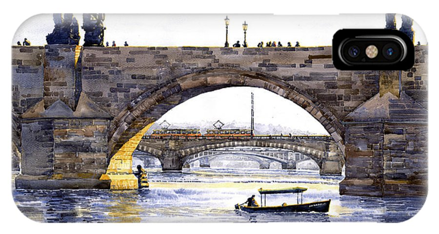 Watercolor IPhone X Case featuring the painting Prague Bridges by Yuriy Shevchuk