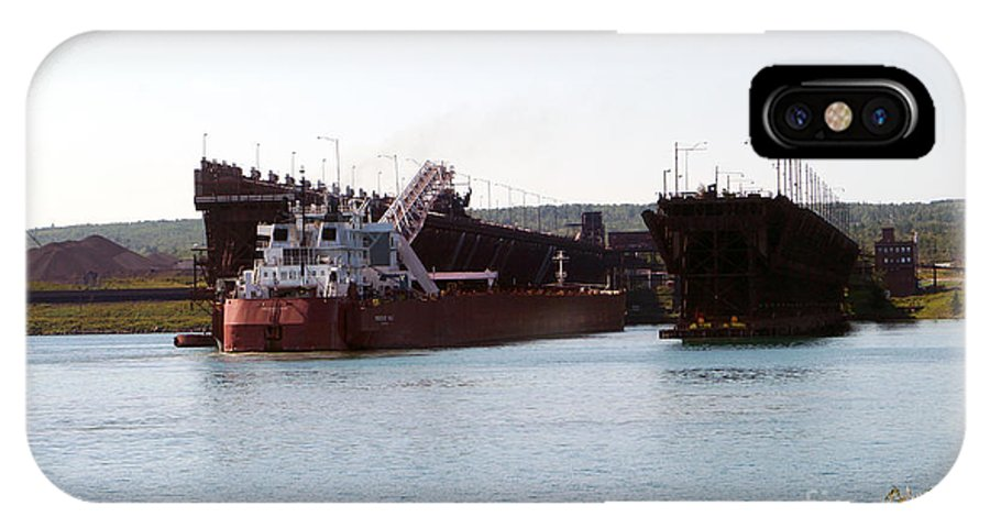 Duluth IPhone X Case featuring the photograph Presque Isle Ship Loading by Lori Tordsen