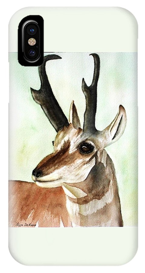 Pronghorn IPhone X Case featuring the painting Pronghorn Magesty by Lyn DeLano