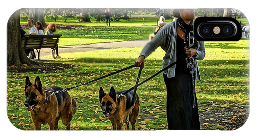 Boston IPhone X Case featuring the photograph The Dog Walker by Jeff Stallard