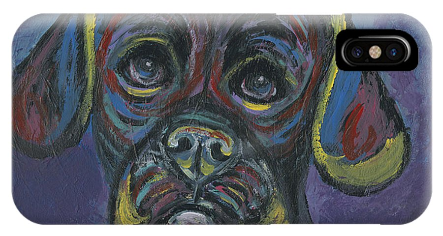 Puggle IPhone X Case featuring the painting Puggle In Abstract by Ania M Milo