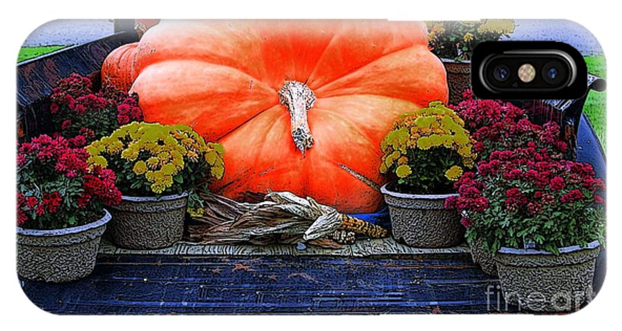 Pumpkin IPhone X Case featuring the photograph Pumpkin And Flowers by Kathleen Struckle