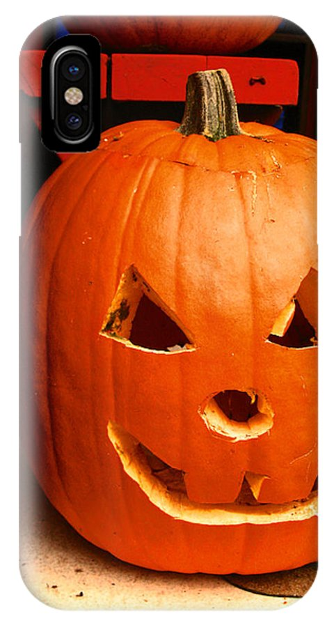 Pumkin On The Porch IPhone X Case featuring the photograph Pumpkin Man by Kym Backland