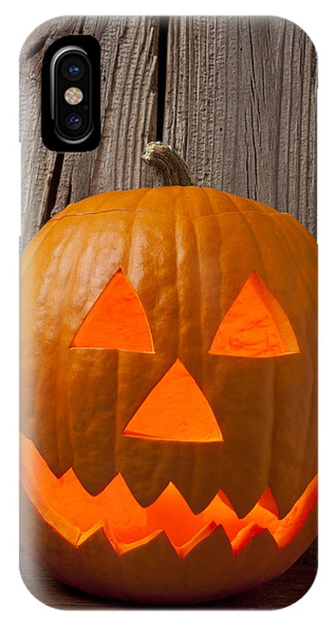 Pumpkin IPhone X / XS Case featuring the photograph Pumpkin With Wicked Smile by Garry Gay