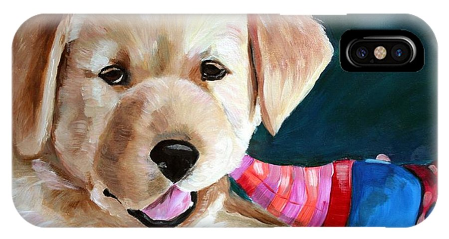 Art IPhone X Case featuring the painting Pup And Toy by Mary Sparrow