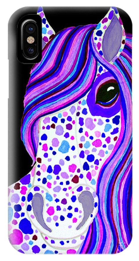 Horse IPhone X Case featuring the drawing Purple Spotted Horse by Nick Gustafson