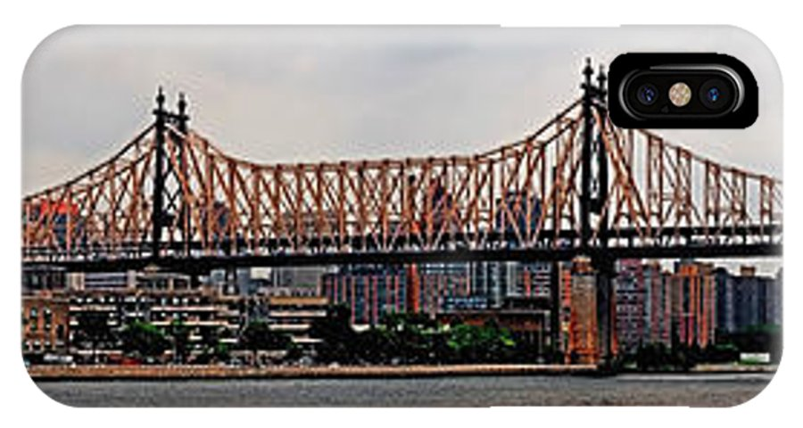 Panoramic IPhone X Case featuring the photograph Queensboro Bridge by S Paul Sahm