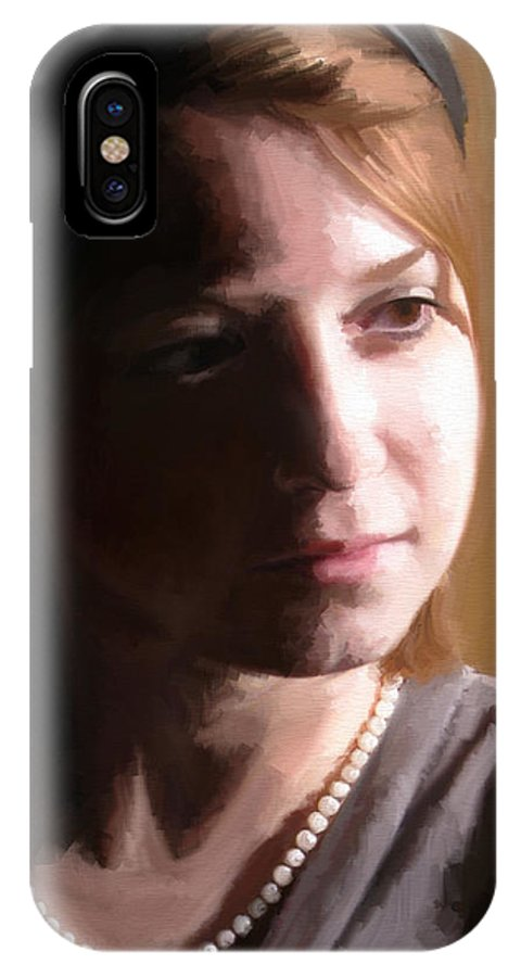 Portrait IPhone X Case featuring the digital art Quiet Reflection by Nik English