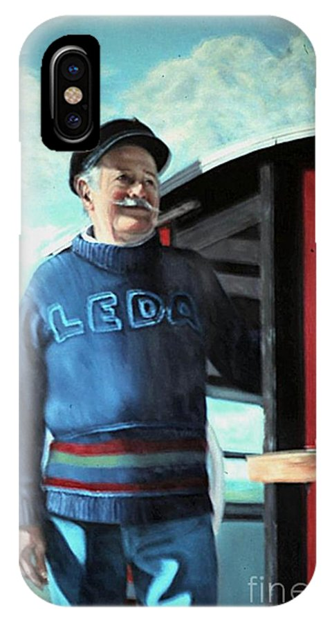 Portrait IPhone X Case featuring the painting R. Sylvester Founder Maritime Museum by Michael John Cavanagh