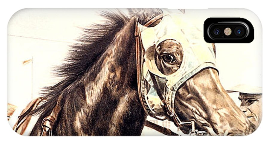 Racehorse IPhone X / XS Case featuring the drawing Racehorse by Gail Dolphin