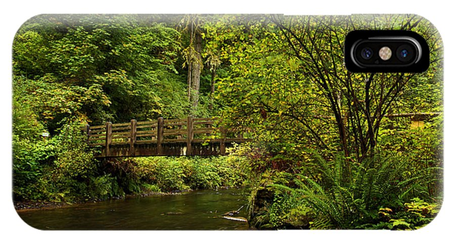 Silver Falls State Park IPhone X / XS Case featuring the photograph Rain Forest Bridge by Adam Jewell