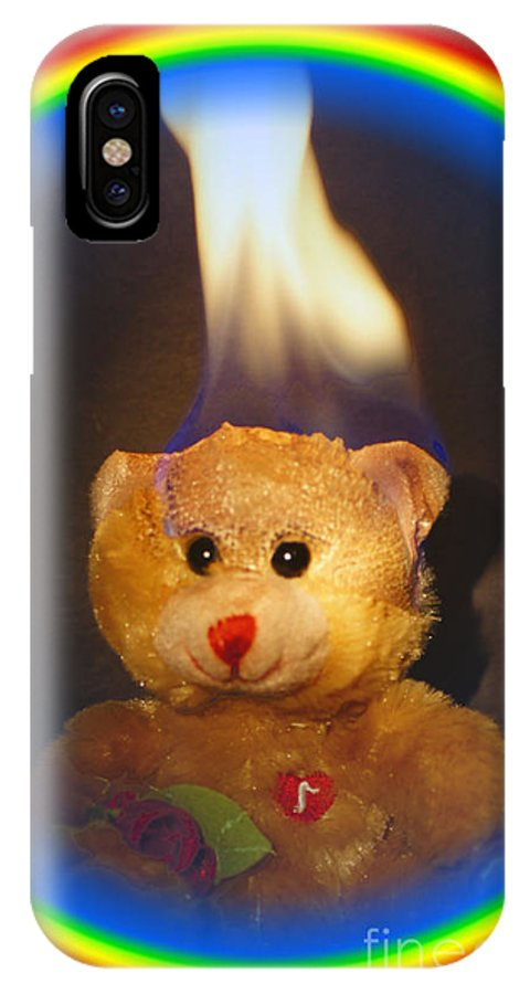 Rainbow IPhone X Case featuring the photograph Rainbow Bear by Paul Wilford