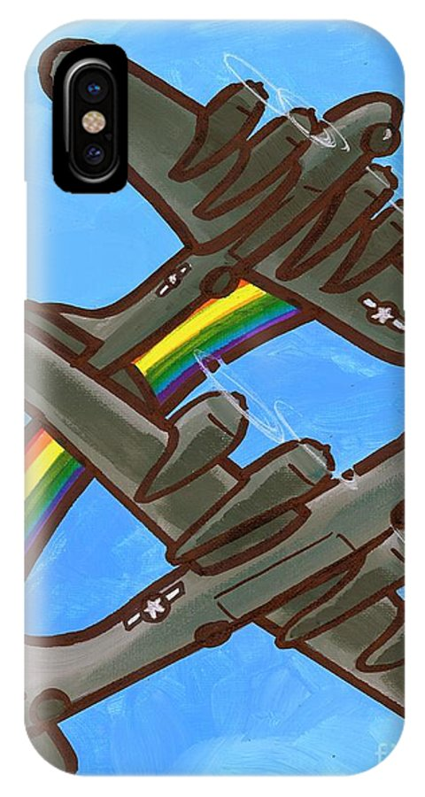 B17 IPhone X Case featuring the painting Rainbow Flight by Jim Harris