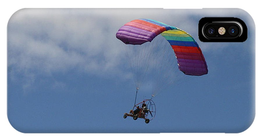 Parachute IPhone X Case featuring the photograph Rainbow Flying Machine by Kym Backland