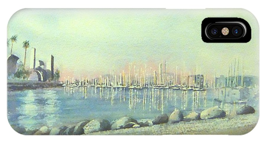 Long Beach IPhone X Case featuring the painting Rainbow Harbor And The Oil Island by Debbie Lewis