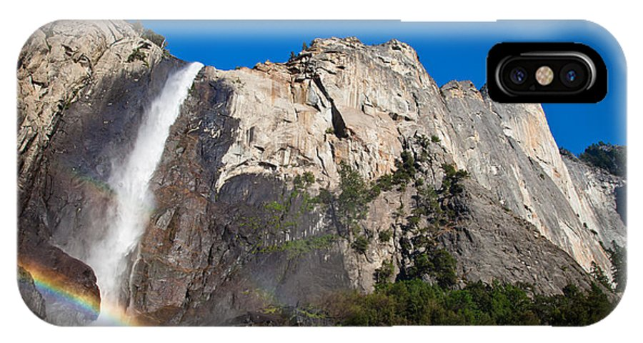 Granite IPhone X Case featuring the photograph Rainbow On Bridalveil Fall by Olivier Steiner