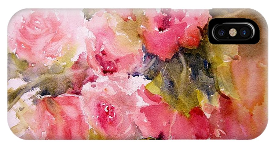 Roses IPhone X Case featuring the painting Raining Roses by Sandra Strohschein