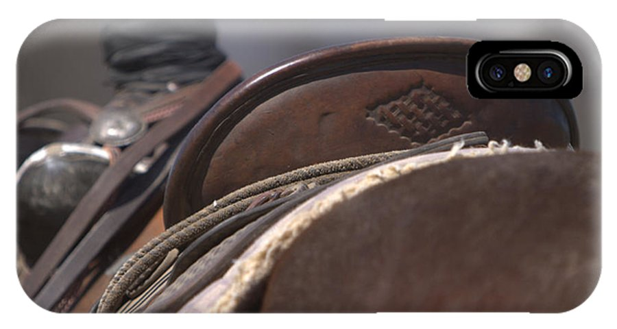 Sadde IPhone X Case featuring the photograph Ranch Saddle by JoJo Photography