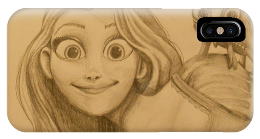 Disney IPhone X Case featuring the painting Rapunzel And Pascal by Lisa Leeman
