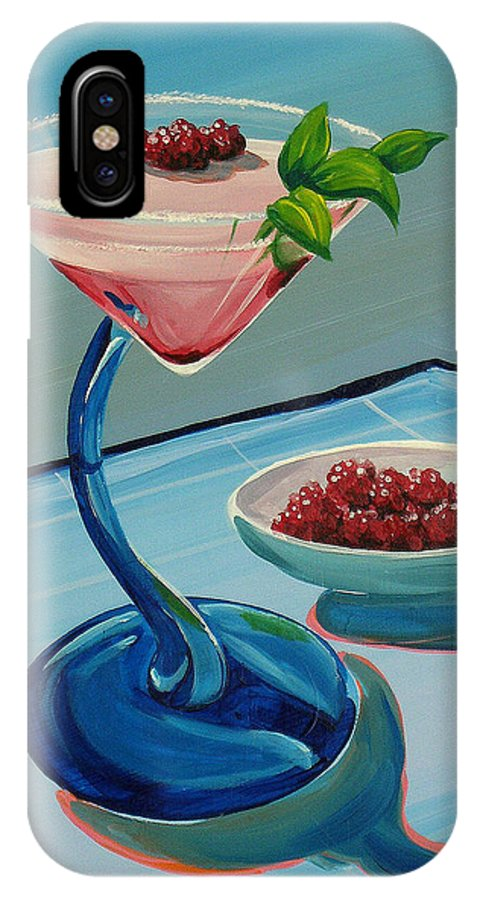 Painting IPhone X Case featuring the painting Raspberry Mojito by Michael Baum
