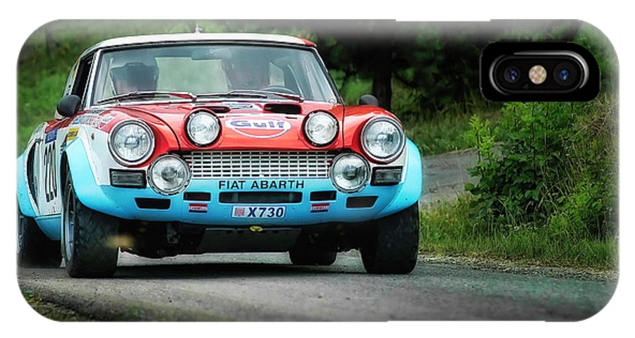 Car IPhone X / XS Case featuring the photograph Red And Blue Fiat Abarth by Alain De Maximy