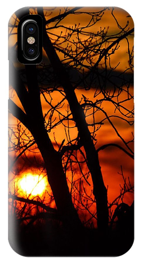 Sunset IPhone X Case featuring the photograph Red And Gold by Bonnie Myszka