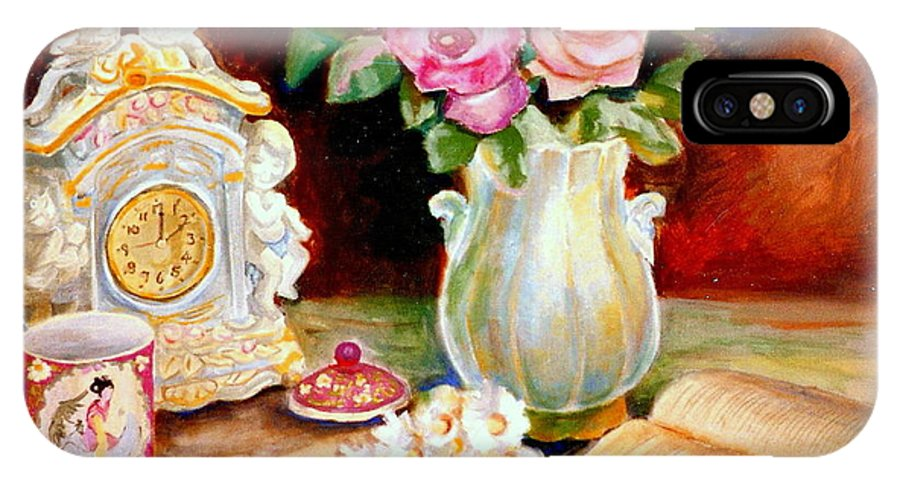 Beautiful Roses In A Dining Room Setting IPhone X Case featuring the painting Red And Pink Roses And Daisies - The Doves Of Peace-angels And The Bible by Carole Spandau
