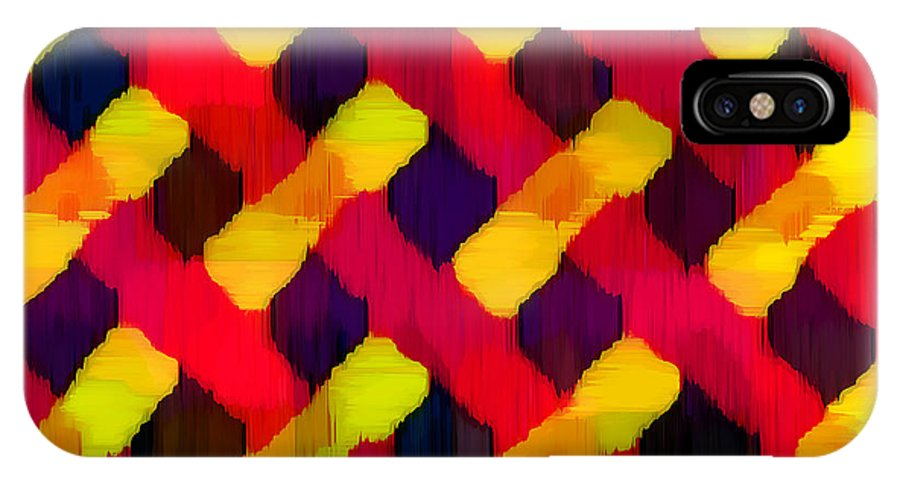 Abstract IPhone X Case featuring the digital art Red And Yellow Basketweave Bias by ME Kozdron