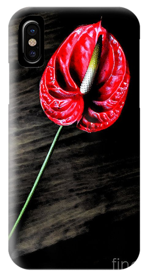 Flowers IPhone X / XS Case featuring the digital art Red Anthrium by Pravine Chester
