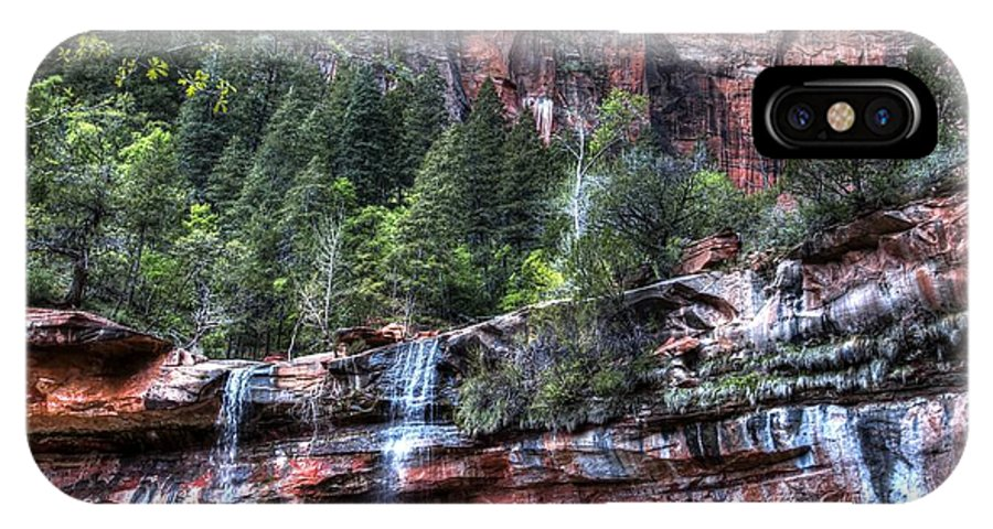Zion IPhone X Case featuring the photograph Red Falls by Jonathan Davison