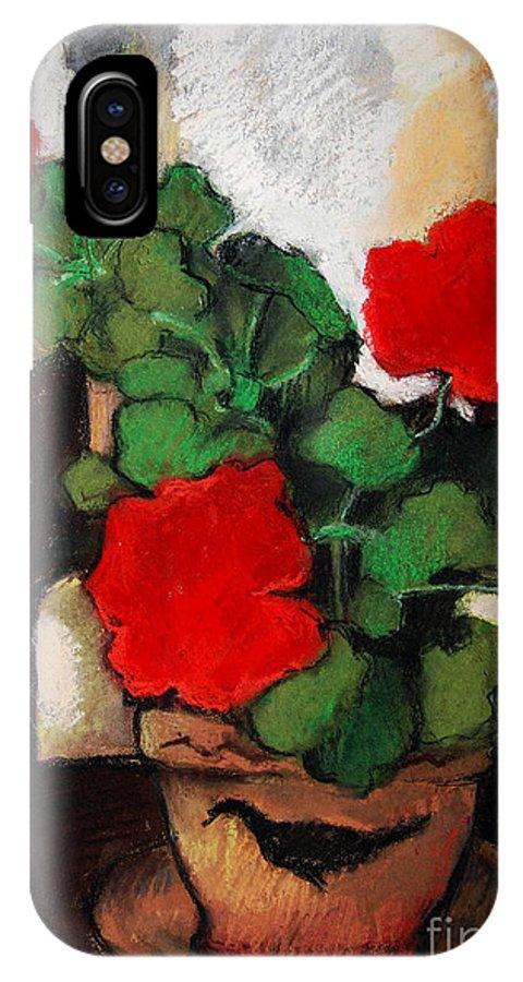 Red Geranium IPhone X Case featuring the pastel Red Geranium by Mona Edulesco