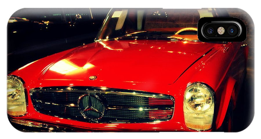 Mercedes IPhone X Case featuring the photograph Red Mercedes Sl by Susanne Van Hulst