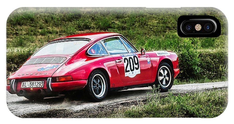 Car IPhone X / XS Case featuring the photograph Red Porsche Running Away by Alain De Maximy