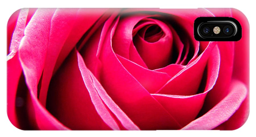 Rose IPhone X Case featuring the photograph Red Rose Macro by Sandi OReilly