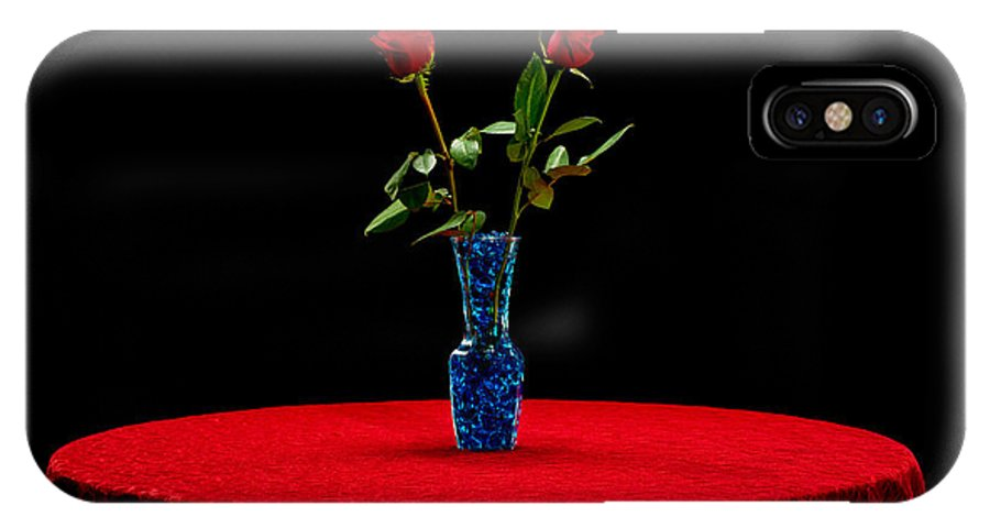 Red IPhone X Case featuring the photograph Red Roses On A Table by Jim Boardman