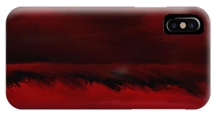 Fine Art IPhone X Case featuring the digital art Red Sea Abstract 112711 by David Lane