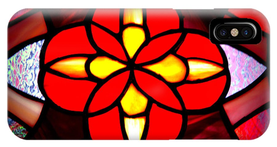 Stained Glass Window IPhone X Case featuring the photograph Red Stained Glass by LeeAnn McLaneGoetz McLaneGoetzStudioLLCcom