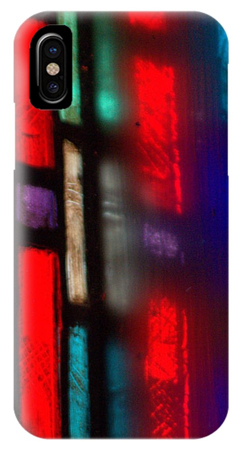 Stained Glass IPhone X Case featuring the photograph Red Stained Glass by Mark Holden