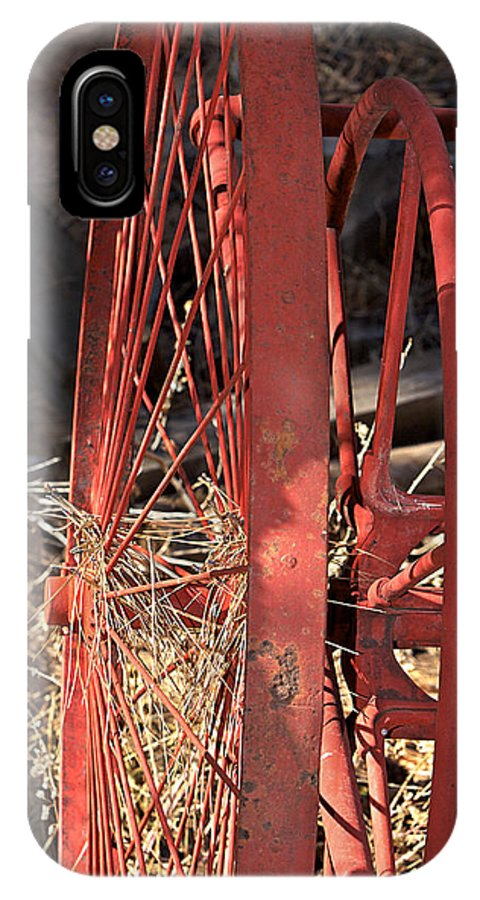 Wheel IPhone X Case featuring the photograph Red Wheel by Phyllis Denton